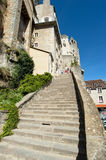 Tourist Rocmadour steps Royalty Free Stock Photography