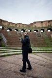 Tourist in Roman Amphitheater Royalty Free Stock Photo