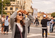 The tourist in Rome is looking for sightseeing! Royalty Free Stock Photography