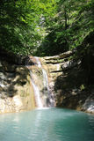 Tourist route along Kuago river - one of cascading waterfalls Stock Photography