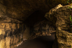 Tourist route, powerful rocks and vegetation, rock cave, interes Royalty Free Stock Image