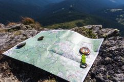 A tourist route. Search for location on the map. Tourist compass Stock Image
