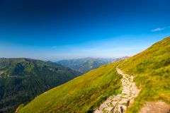 Tourist route to the summit of Mount Kasprowy Wierch. Poland royalty free stock image