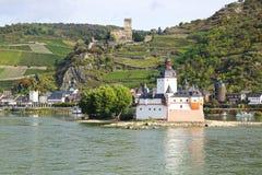 Castle Pfalzgrafenstein and Burg Gutenfels. Stock Photo