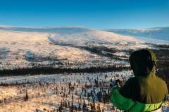 Tourist in Russian Lapland, Kola Peninsula Stock Photography