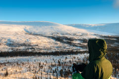 Tourist in Russian Lapland, Kola Peninsula Stock Images