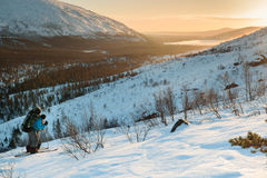 Tourist in Russian Lapland, Kola Peninsula Royalty Free Stock Photos