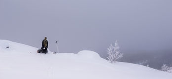 Tourist in Russian Lapland, Kola Peninsula Royalty Free Stock Image
