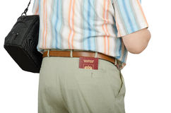 Tourist with Russian passport in rear pocket Stock Photos