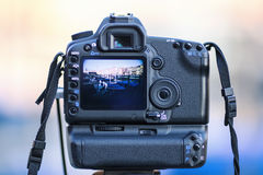 Tourist's digital photo camera Royalty Free Stock Images