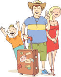 Tourist's family. The happy tourist's family - father, mother and their little son are ready to vacation Stock Image