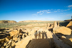 Tourist's shadows in Chaco Culture National Historical Park, NM, Royalty Free Stock Photos