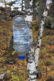 Tourist's water-tap. Water-tap left by tourists on the mountain  aigir  , autumn , russia Stock Photography