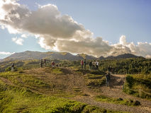 Tourist at Sacsayhuaman Fortrees in Cuzco Peru Royalty Free Stock Photography