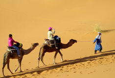 Tourist safari on camels in desert. Tourist safari on camels in sand dune desert Sahara in Africa. Camel caravan with camel driver on Erg sand dune stock photos