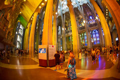 Tourist in Sagrada Familia, Barcelona, Spain Royalty Free Stock Images