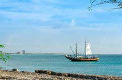 Tourist sailboat anchored in the sea in Aruba Royalty Free Stock Photo