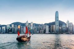 Free Tourist Sailboat Crosses Victoria Harbor In Hong Kong Royalty Free Stock Photo - 85399805