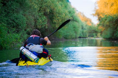 Tourist Sailing On Kayak Royalty Free Stock Photo