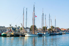 Tourist sailing ships in harbor of Terschelling, Netherlands Stock Images