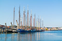 Tourist sailing ships in harbor of Terschelling, Netherlands royalty free stock image