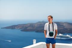 Tourist in Santorini Stock Images