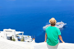 Tourist in Santorini Royalty Free Stock Photography