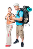 Tourist satisfaction with backpacks posing in the studio. On a white background Stock Photo