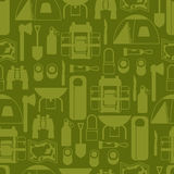 Tourist seamless pattern with camping equipment in. Flat style Royalty Free Stock Images