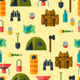 Tourist seamless pattern with camping equipment in Stock Photo