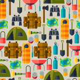Tourist seamless pattern with camping equipment in. Flat style Stock Photos