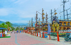 The tourist seaside promenade in Alanya Stock Photos