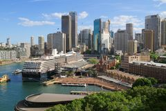 Australia/Sydney: Harbor with Cruise Ship Stock Photos