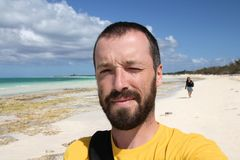 Tourist selfie in Cuba Royalty Free Stock Photography