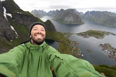 Tourist selfie in Norway stock photo