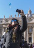 Tourist selfie vatican photo rome Royalty Free Stock Photography