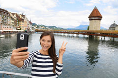 Tourist selfie woman in Lucerne Switzerland Royalty Free Stock Image