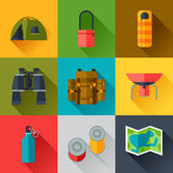 Tourist set of camping equipment icons in flat Stock Photos