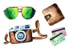 Tourist set with wallet, credit cards, camera and sunglasses. on white background. Watercolor hand drawn illustration stock illustration