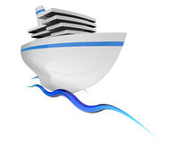 Tourist ship. On the blue waves on white background Royalty Free Stock Photography