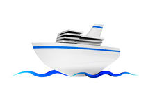 Tourist ship. On the blue waves on white background Stock Photos