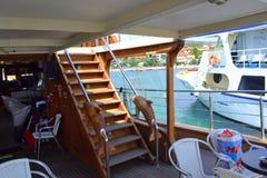 Tourist ship board Stock Photo