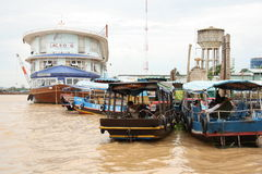 Tourist ship and boats, Mekong Delta Royalty Free Stock Photos