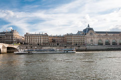 Tourist ship in the center of Paris Royalty Free Stock Photos