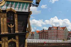 Tourist ship and colorful facades of houses of the Gdansk old town, Poland Stock Photography