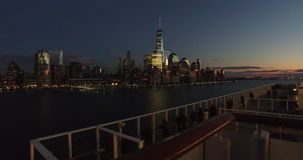 Tourist on the ship enjoying in the view of New York city,accelerated footage stock video