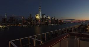Tourist on the ship enjoying in the view of New York city, ,-USA-New York- stock video footage