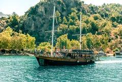 Tourist ship, excursion to the Aegean Sea. Royalty Free Stock Image
