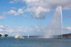 Tourist ship floats across Lake Geneva Stock Images