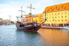 Tourist ship in Gdansk Royalty Free Stock Images